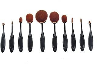 Oval Makeup Brushes 10pcs - Black