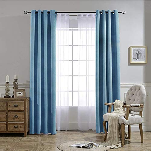 PerfeCurtain Sky Blue Blackout Curtains for Bedroom & Living Room, 52 x 63 inch Grommet Light Blocking & Heat Insulating Drapes, 2 Panels