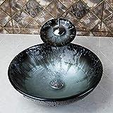 Inicio del grifo Templado Vidrio pintado a mano fregadero lavabo Cascada Lavabo Baño Combine Brass Set grifo, mezcladores y grifos de baño Embarcaciones