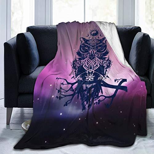 XUJT11O Decke, aus Mikrofleece, mit Eulen-Motiv, sehr kuschelig, 3 Größen zur Auswahl