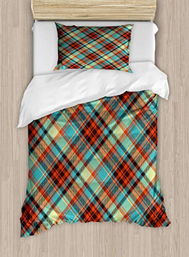 Scott397House Plaid Single Bedding Duvet Cover 2 Piece, Abstract Pixel Art Crossing Lines, Soft Bedding Protects Set with 1 Comforter Cover 1 Pillowcase, Single Size, Multicolor