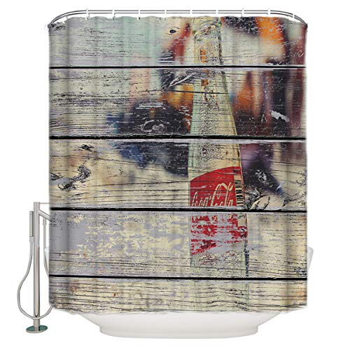 """Milodian 72"""" x 78"""" Shower Curtain with Hooks, Vintage Wooden Coke Bottle Beach - Waterproof Polyester Cloth Bath Curtains Sets for Bathroom Decoration"""