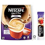 Nestle Malaysia Nescafe Zero Nescafe 2 In 1 Blend and Brew Zero Unsweetened Instant Coffee No Added Sugar Premix Coffee Sugar Free Coffee Nescafe Single Serve Packet Coffee Halal Drinks Teatime Breakfast 25 Sticks x 12g (0.42oz)