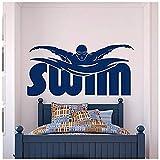 Gym Sport Wandtattoo Aufkleber Schwimmen Schwimmbad Schwimmer Geschenk Wohnkultur Für Jungen Zimmer Schlafzimmer Wohnheim Wandkunst Mural36x76cm
