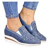 Hemlock Women Wedge Shoes Slope Heel Shoes Breathable Loafers Slip On Work Shoes Crystal Wedges...