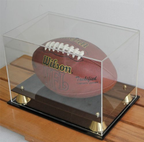 UV Protection Football Display Case Holder Stand, All Sides Clear (Rectangular)