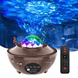 Night Light Projector for Bedroom,Homcasito Star Light Projector with Bluetooth Speaker,Night Light LED Ocean Projector Aurora Sky Gift for Kids Adults,Bedroom Decor Home Theatre(Wood Grain)