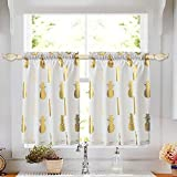oremila Small Tier Curtains for Kitchen Café Windows, 28' x 36' Gold Pineapple Metallic Printed Short Curtain Panels for Bathroom Rod Pocket, Set of 2
