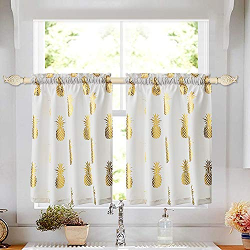 oremila Small Tier Curtains for Kitchen Café Windows, 28' x 24' Gold Pineapple Metallic Printed Short Curtain Panels for Bathroom Rod Pocket, Set of 2