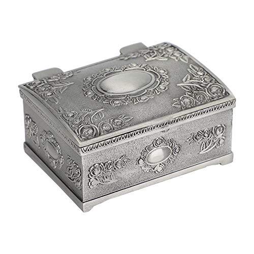 DAUERHAFT Joyero Retro, Caja Rectangular con decoración en Relieve de Flores, Caja de Almacenamiento de Collar de Pendientes, para cumpleaños