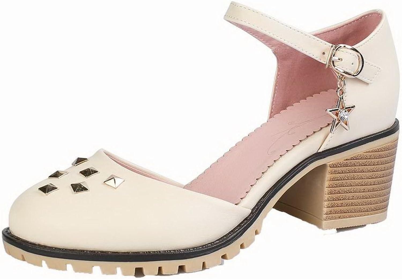 AmoonyFashion Women's Buckle Closed-Toe Pu Solid Kitten-Heels Sandals