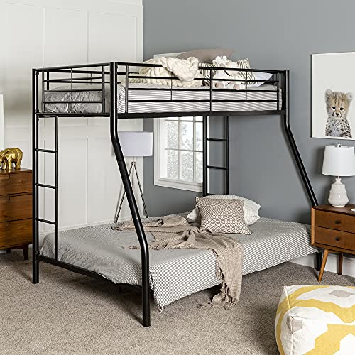 Walker Edison Dunning Urban Industrial Twin over Double Metal Bunk Bed, Twin...