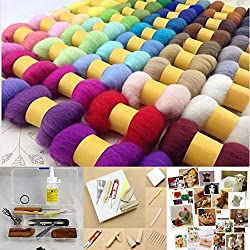 50 Different ColorsWool Fibre Needle Felting plus Felting Needles Starter Kits Mat Tools
