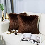 Carvapet 2 Pieces Luxury Decorative Faux Sheepskin Fur Throw Pillow Case Cushion Cover for Sofa Bedroom Couch, Brown, 18x18 Inch