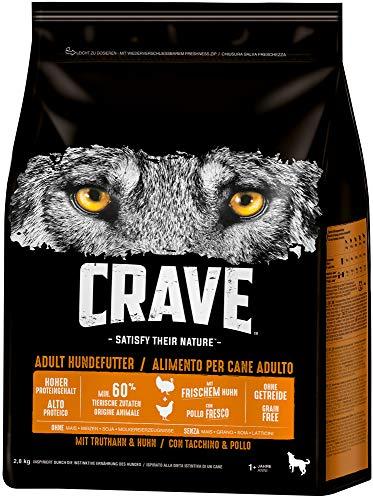 CRAVE Premium Trockenfutter mit Truthahn & Huhn für Hunde – Getreidefreies Adult Hundefutter mit hohem Proteingehalt – Großpackung – 3 x 2.8 k g