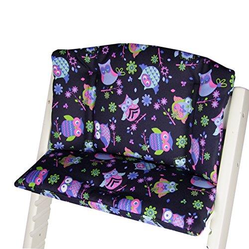 Babys-Dreams zitkussen pad zitkussenset voor stokken Tripp Trap hoge stoel (donkerblauw roze/groen uilen$7)