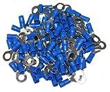 AERZETIX: Juego de 100 eléctricos plana terminales en forma de anillo 6mm Color: azul C1276