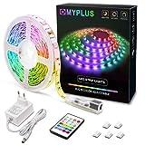 MYPLUS LED Streifen, RGB Led Strips 5M mit IR-Fernbedienung und 12V Stromversorgung, Farbwechsel SMD 5050 Farbänderung Led-Band für Zuhause,...