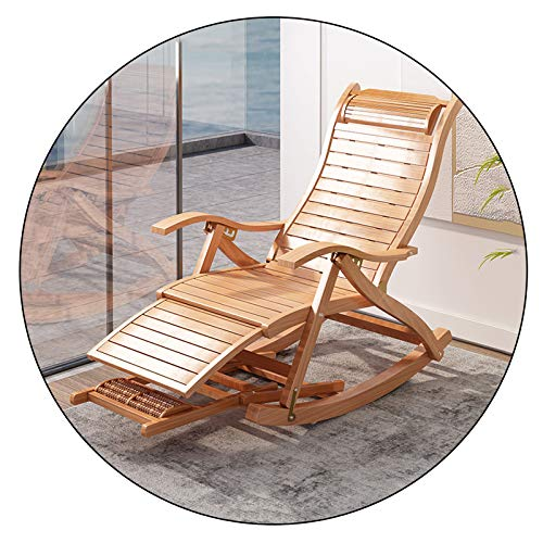 XEWNEGTZI Folding Sun Lounger Bamboo Rocking Chair, 5 Gears Adjustable Recliner, With Cotton Pad And Retractable Footrest, Portable Outdoor Garden Terrace Leisure Chair(Color:chair)