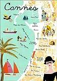 Poster 70 x 100 cm: Cannes Vintage Collage von GreenNest -