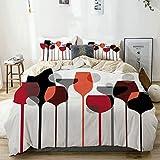 Set copripiumino beige, bicchieri astratti di vino con stampa stilizzata, set di biancheria da letto decorativo 3 pezzi con 2 fodere per cuscini Easy Care anti-allergico morbido liscio
