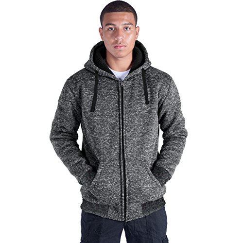 Plus Size S-5XL Marled Fleece Hoodie for Men Heavyweight Sherpa Lined Full Zip Up Big&Tall Long Sleeve Winter Jacket Coat(Dk.Grey, 5XL)