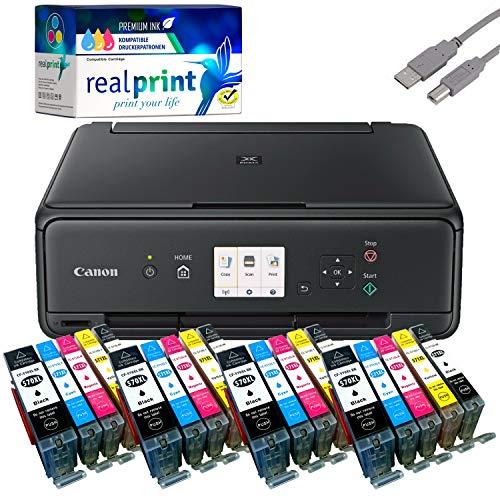Canon PIXMA TS5050 Drucker Tintenstrahl-Multifunktionsgerät schwarz (Drucken, Scannen, Kopieren, Cloudlink) mit 20 komp. realprint Druckerpatronen PGI570/CLI571 XL (ohne Originalpatronen)