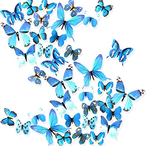 Ewong Butterfly Wall Decals, 36PCS 3D Butterflies Home Decor for Room, Wall Sticker for Girls Room Kids Bedroom Bathroom Baby Nursery Decoration (Blue)