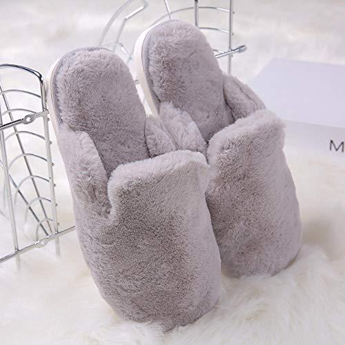 Flip Flop-GQ lustige Hausschuhe Damen,Winter Warme Hausschuhe Plüsch rutschfeste Hausschuhe für Frauen Männer Waschbare Baumwollhausschuhe @ Hellgrau_39 / 40