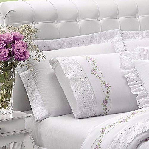Jogo de Cama Queen Bouquet 4 Peças 200 Fios Percal Casaborda Branco
