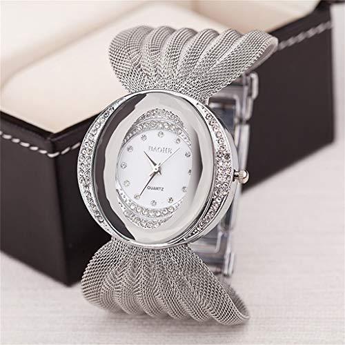 GLEMFOX Dames kwartshorloge mode goud/zilver polshorloge Bright Diamond Butterfly Mesh Dames kwartshorloge zilver