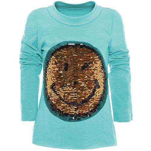 BEZLIT Mädchen Wende-Pailletten Long Shirt Bluse Pullover Langarm Sweat Shirt 20983 Türkis Größe 152