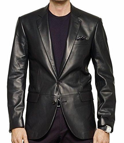 Koza Leathers Men's Lambskin Leather Blazer KB001 (L) Black