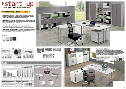 Kerkmann Büromöbel Tische Schränke Regale Sideboard Anstellung-Container (1 Schreibtisch 160 x 80 x 75, lichtgrau, 1)