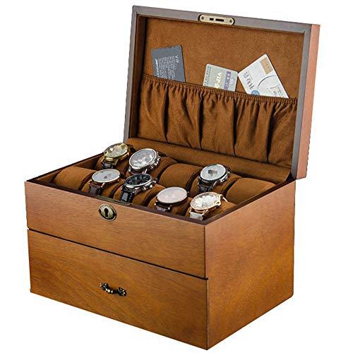 LMEI-WatchBox Edle Uhrenbox/Massivholzuhr Schmuck Aufbewahrungsbox, 2 Schichten 20 GroßE KapazitäT Uhrensammelbox, SchöNes Schloss