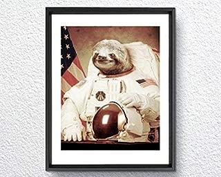 QG Art Sloth Astronaut Animals Giclee Art Canvas Wall Art Prints 20 x 25cm,No Frame