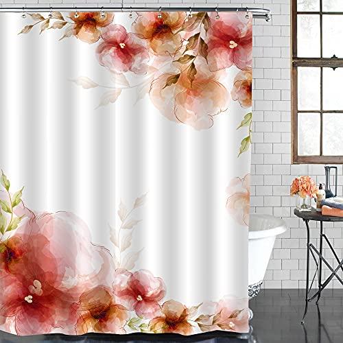 MitoVilla Vintage Floral Duschvorhang für Frühling & Sommer, rot, orange Blumen braune Blätter Badezimmer Vorhang Pflanzen Themed Bad Decor Retro Aquarell Duschvorhang, Salbeigrün 182,9 x cm