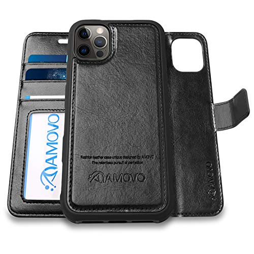 AMOVO Compatible with iPhone 12 Pro/iPhone 12 Wallet Case Detachable [Vegan Leather] [Hand Strap] [Card Slot] [Stand Feature] Flip Folio Phone Case Compatible with iPhone 12/iPhone 12 Pro (Black)