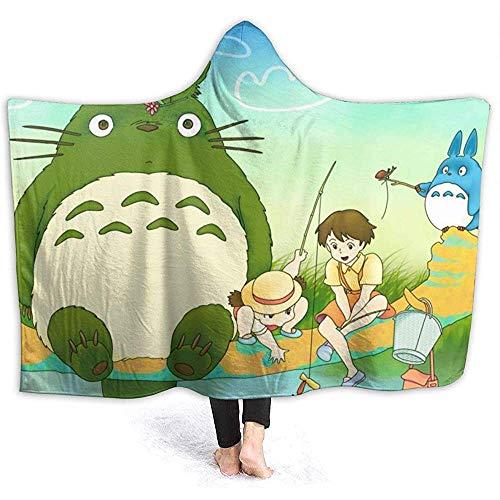 Niet van toepassing Hooded Deken Anime Meisje Mijn Buurman Totoros Gooi Dekens Sherpa Fleece Draagbare Knuffel Warm Zachte Hooded Dekens voor Volwassenen Mannen Vrouwen 60 x 50 Inch