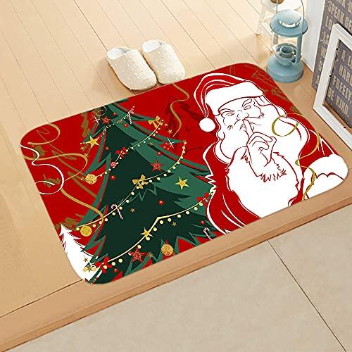 SRVK Felpudo Coco,Alfombrillas Navideñas para Puerta con Estampado De Árbol De Navidad De Papá Noel, Felpudo Antideslizante, para Vacaciones De Invierno, Decorativo, para Puerta De Otoño, para Interi