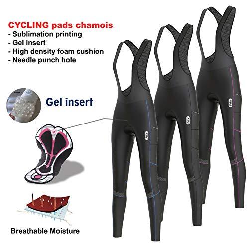 FDX Damen Trägerhose für den ganzen Tag, 3D-gepolsterte Thermo-Taschen, Winter-Radhose, Schwarz / Blau, Größe M