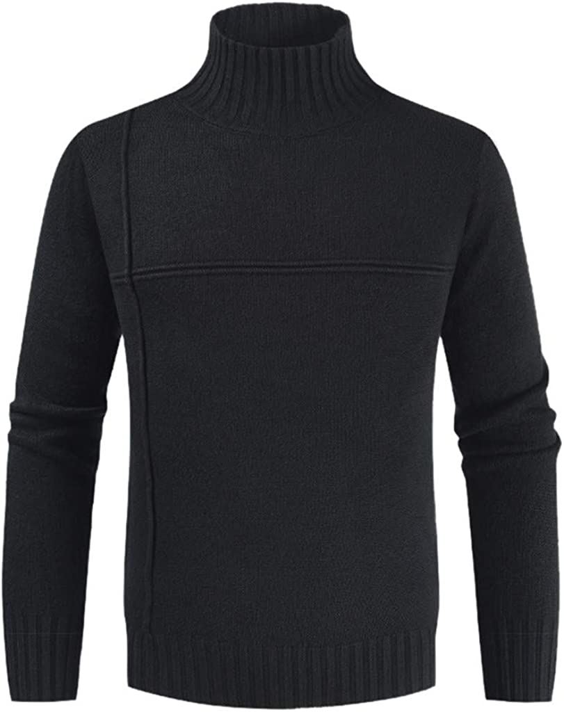Uqiangy Mens Casual Slim Solid Turtleneck Pullover Knitted Cardigan Thermal Sweater Basic Designed