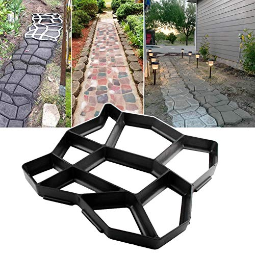 Walk Path Maker, Pathmate Stone Moldings Paving Pavement Concrete Molds Stepping Stone Paver Walk Way Cement Molds for Patio, Lawn & Garden (1 Pack 13 x 13 x 1.4 inch)