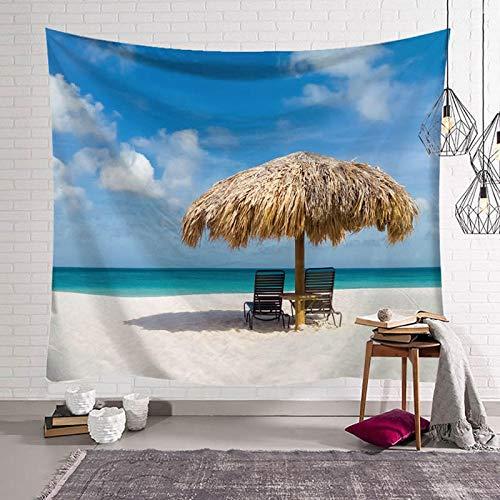 XURANFANG Blue Beach Coco wandtapijt, hangende stof van de slaapkamer-bacteriëndecoratie op bed, tafelkleed-achtergrond-stof, tapijt, schilderijen gefotografeerd 463 figuur 150 hoogte x 200 breedte.