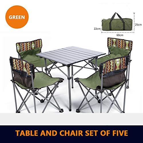 COKECO Outdoor Tragbarer Klapptisch Und Stuhl Set Oxford Tuch Klappstuhl Camping Tisch Und Stuhl Set Draussen Picknick Angeln Stark Und Haltbar Campingtisch Und Stuhl Mehrfache Farben