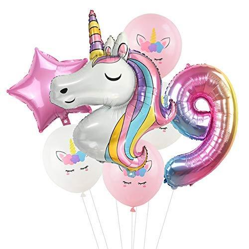 Globos de fiesta infantiles Globo 7pcs Número 9 Conjunto partido del unicornio del arco iris del unicornio globos decoración de cumpleaños Número globo fiesta de cumpleaños de los niños Baby Shower De