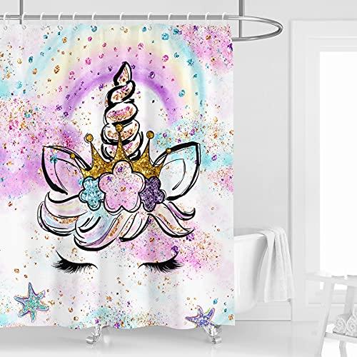 Kikiry Einhorn-Duschvorhang 152,4 cm B x 182,9 cm L Regenbogen buntes Mädchen niedliches Cartoon-Polyester Stoff wasserdicht 12 Stück Kunststoffhaken
