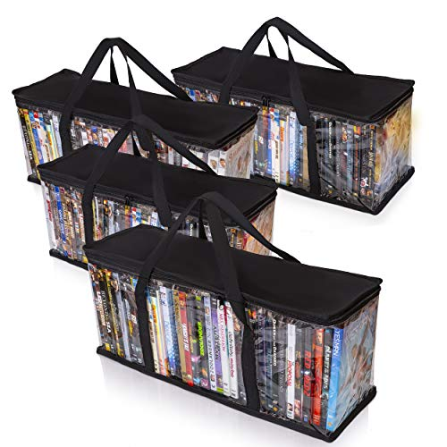 Besti Premium Quality Home DVD Storage Bags (4-Pack) Holds 160 Total Movies or Video Games, Blu-ray, | Convenient Travel Case for Media | Stackable, Easy to Carry (Black)