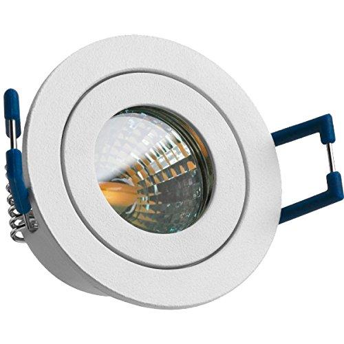IP44 LED Mini Einbaustrahler Set in Weiß matt mit LED MR11 / GU5.3 Strahler von LEDANDO - 2W - 160lm - warmweiss - 60° Abstrahlwinkel - 20W Ersatz - Bad/Dusche - Terrassendach - Wintergarten
