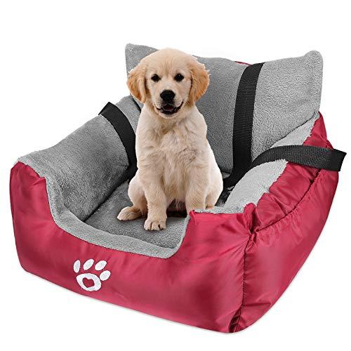 JASVIJO Hunde Autositz für Kleine Mittlere Hunde, Extra Stabiler Wasserdichter Hundeautositz für Rück- und Vordersitz, hochwertiger Stoff mit Aufbewahrungstasche, Warm halten& rutschfest (Rot)